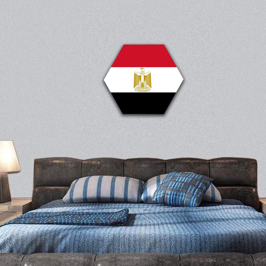 Egypt Flag Hexagonal Canvas Wall Art 7 Hexa / Small / Gallery Wrap Tiaracle