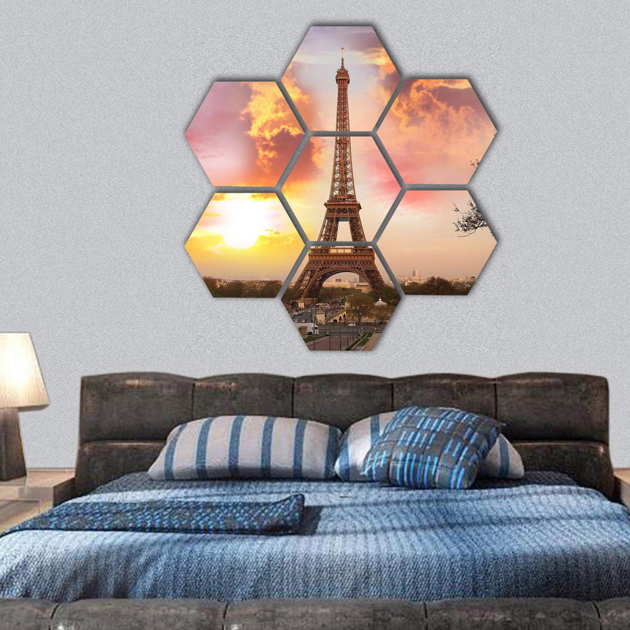 Eiffel Tower Against Sunset In Paris Hexagonal Canvas Wall Art 1 Hexa / Small / Gallery Wrap Tiaracle