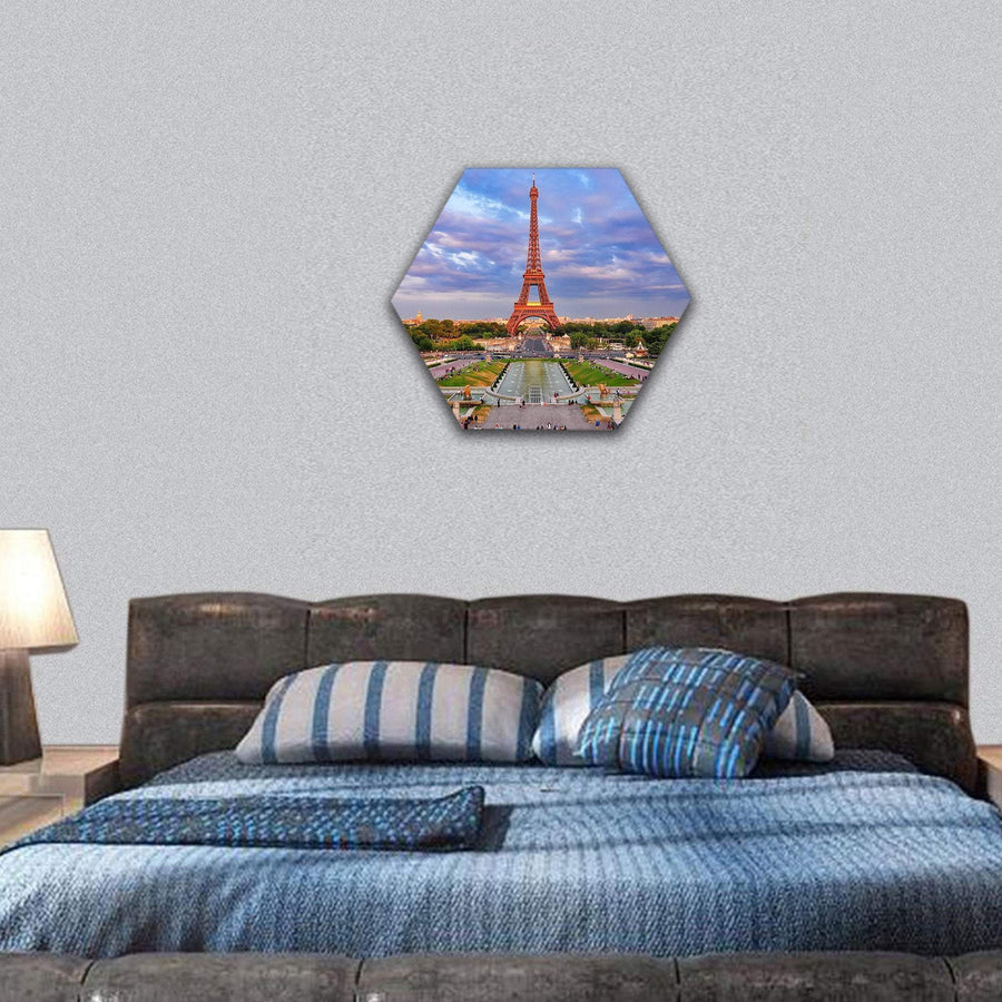 Eiffel Tower At Cloudy Sunset In Paris Hexagonal Canvas Wall Art 7 Hexa / Small / Gallery Wrap Tiaracle