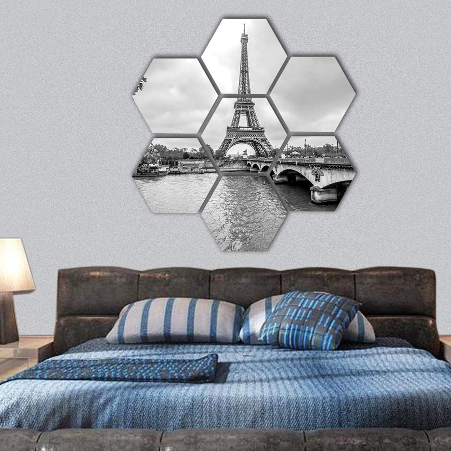 Eiffel Tower From Siene Hexagonal Canvas Wall Art 1 Hexa / Small / Gallery Wrap Tiaracle
