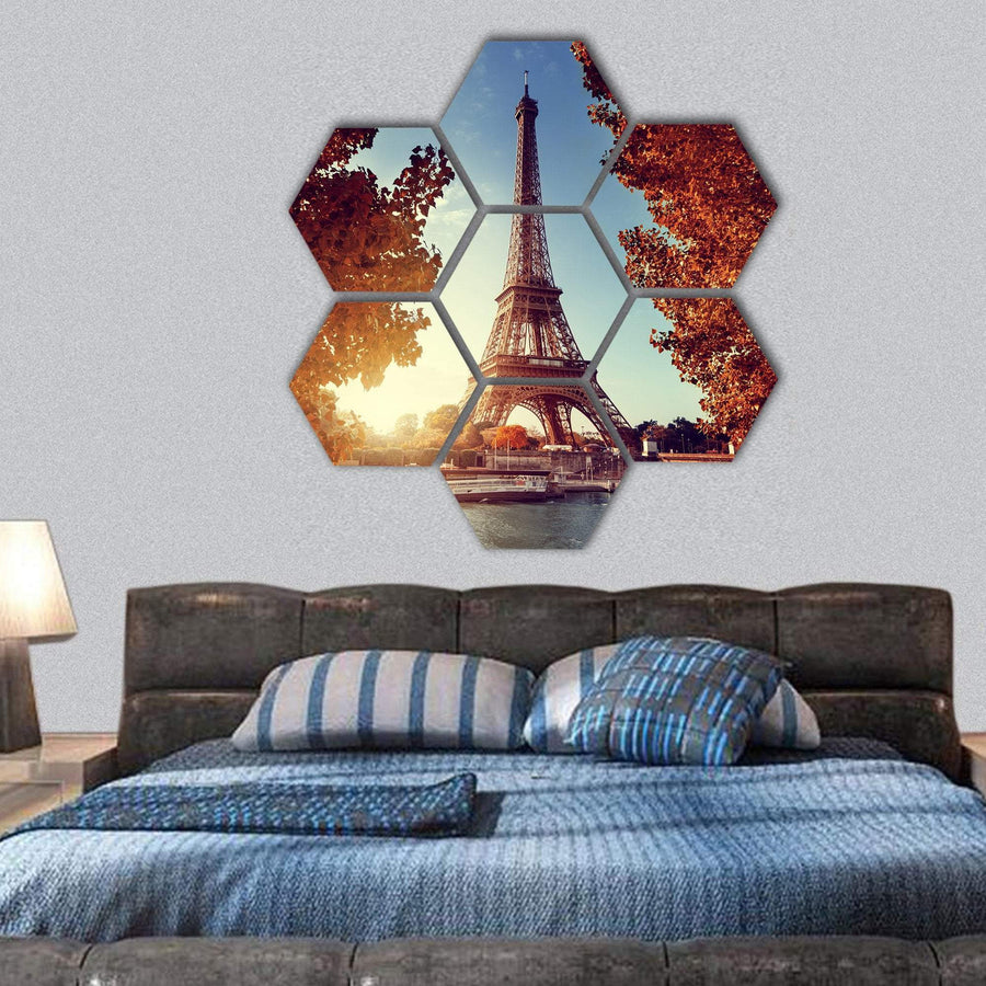Eiffel Tower In Autumn Time Hexagonal Canvas Wall Art 1 Hexa / Small / Gallery Wrap Tiaracle