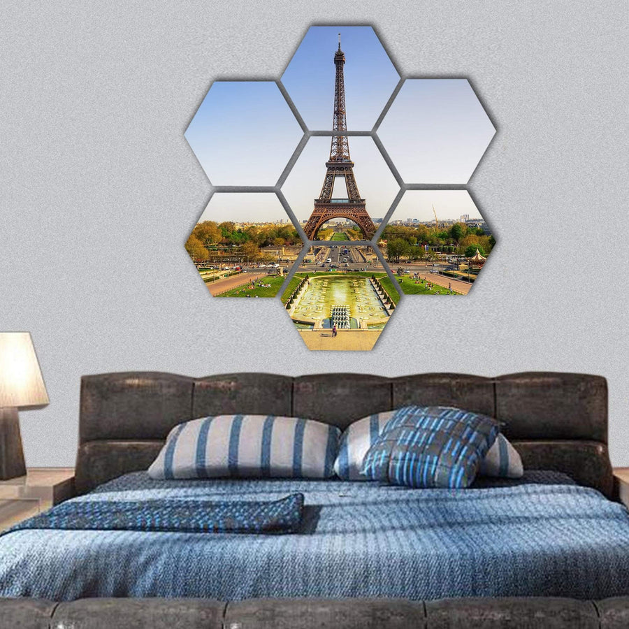 Eiffel Tower In Paris Hexagonal Canvas Wall Art 1 Hexa / Small / Gallery Wrap Tiaracle