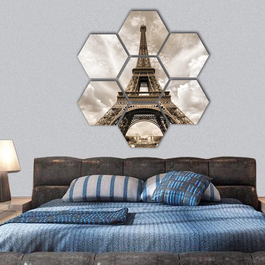 Eiffel Tower Seen From Champ De Mars Hexagonal Canvas Wall Art 1 Hexa / Small / Gallery Wrap Tiaracle