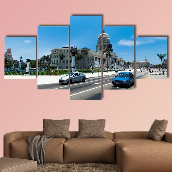 El Capitolio In Havana Cuba Multi Panel Canvas Wall Art 4 Pieces / Medium / Canvas Tiaracle