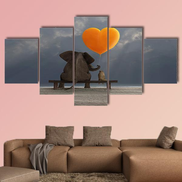 Elephant And Dog Holding A Heart Shaped Balloon Multi Panel Canvas Wall Art 3 Pieces / Medium / Canvas Tiaracle