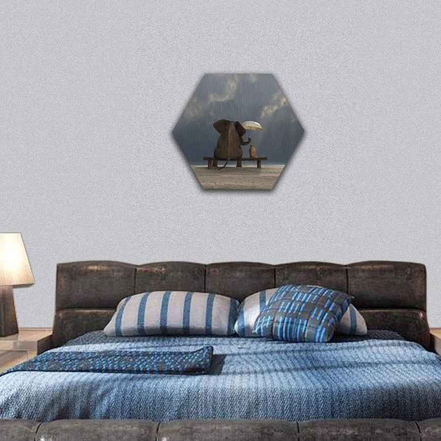 Elephant And Dog Sit Under The Rain Hexagonal Canvas Wall Art 7 Hexa / Small / Gallery Wrap Tiaracle