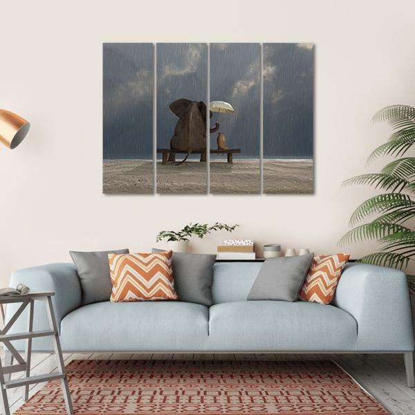 Elephant And Dog Sit Under The Rain Multi Panel Canvas Wall Art-1 Piece-Small-Gallery Wrap-Tiaracle