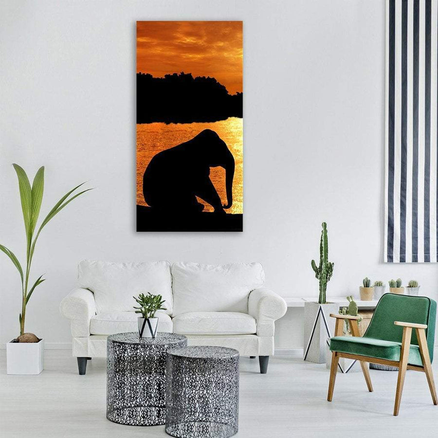 Elephant During Sunset Vertical Canvas Wall Art Tiaracle