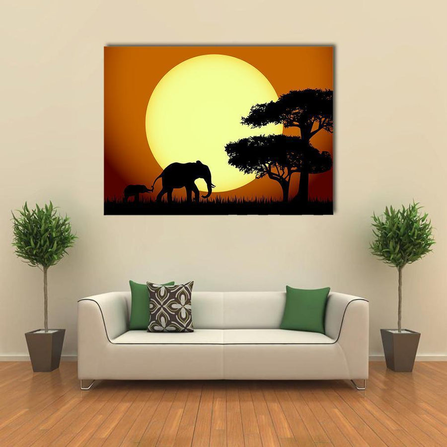 Elephants At Sunset Multi Panel Canvas Wall Art 3 Pieces / Medium / Canvas Tiaracle