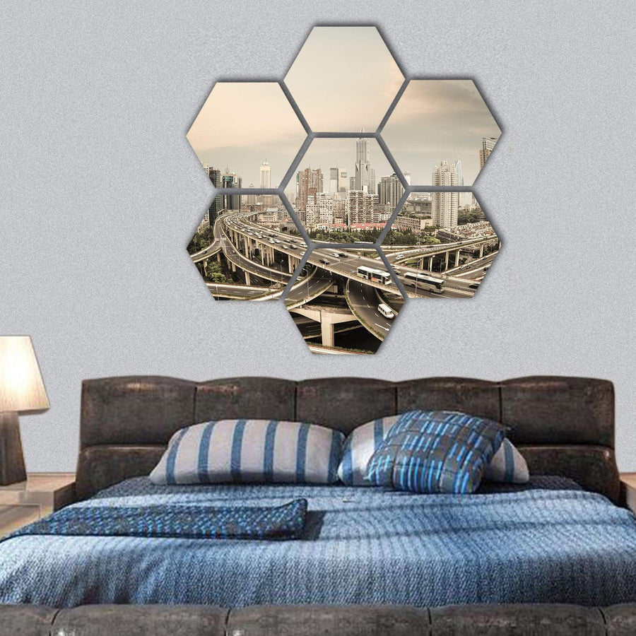 Elevated Road Junction In Shanghai At Dusk Hexagonal Canvas Wall Art 1 Hexa / Small / Gallery Wrap Tiaracle