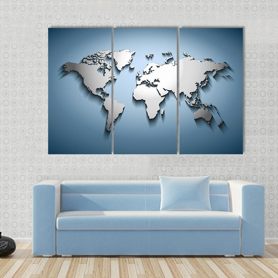 Beautiful Embossed World Map Canvas Panel Painting Tiaracle