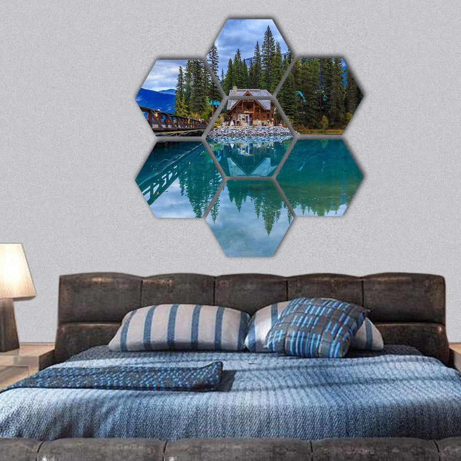 Emerald Lake Hexagonal Canvas Wall Art 1 Hexa / Small / Gallery Wrap Tiaracle