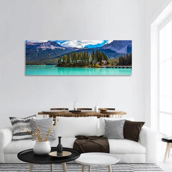 Emerald Lake In Canada Panoramic Canvas Wall Art 3 Piece / Small Tiaracle