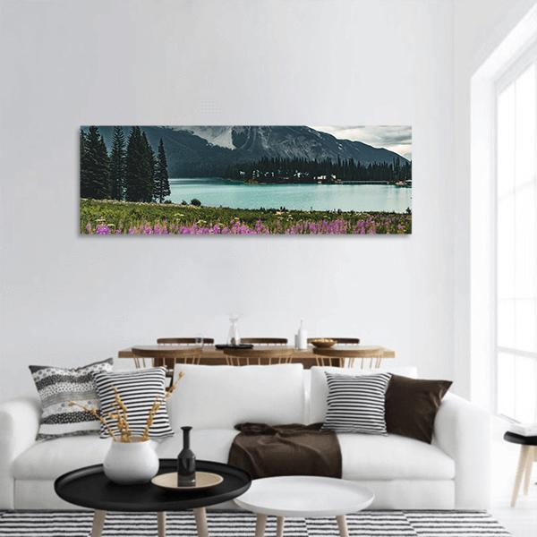 Emerald Lake in Canadian Rockies Panoramic Canvas Wall Art 3 Piece / Small Tiaracle
