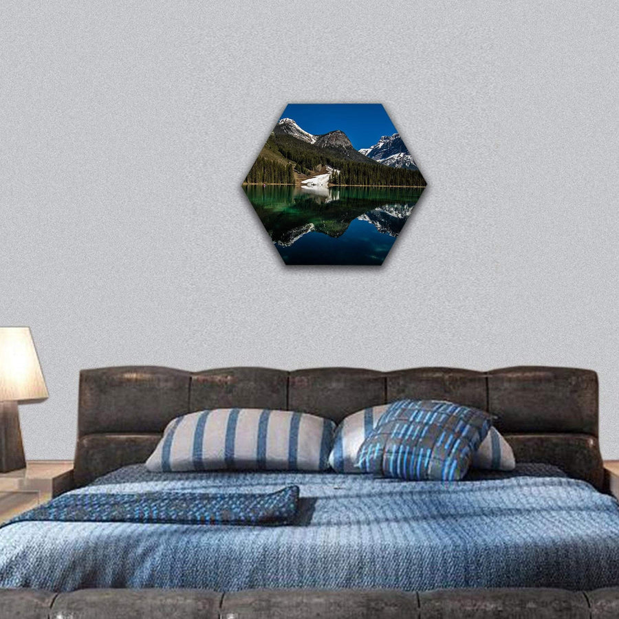 Emerald Lake In Yoho National Park Hexagonal Canvas Wall Art 7 Hexa / Small / Gallery Wrap Tiaracle