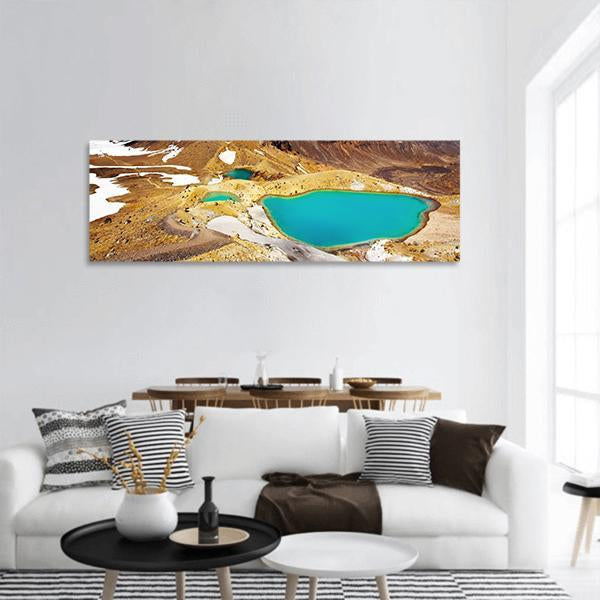 Emerald Lakes In New Zealand Panoramic Canvas Wall Art Tiaracle