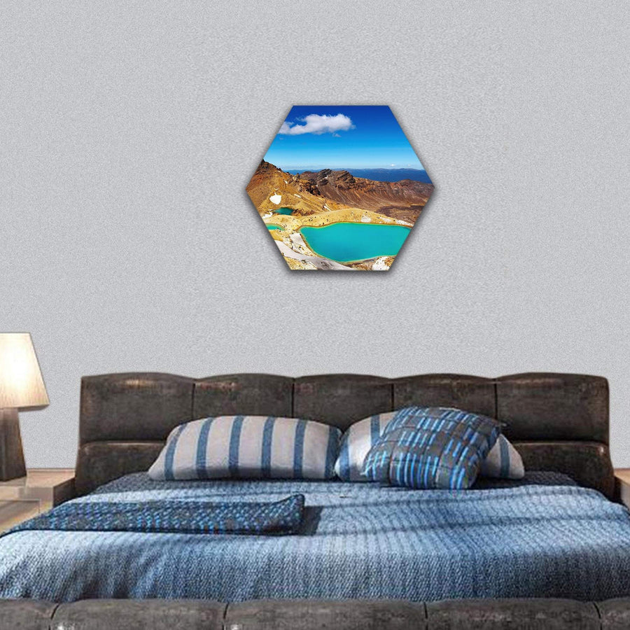 Emerald Lakes In Tongariro National Park Hexagonal Canvas Wall Art 7 Hexa / Small / Gallery Wrap Tiaracle