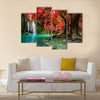 Erawan Waterfall In Autumn Forest Multi Panel Canvas Wall Art 4 Pop / Small / Gallery Wrap Tiaracle