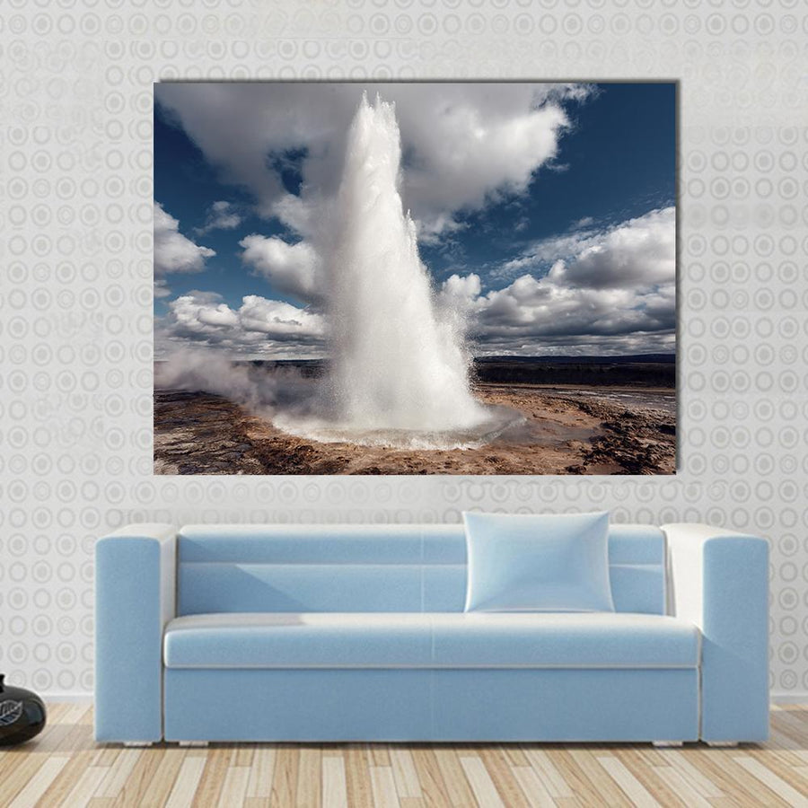 Eruption Of Strokkur Geyser Multi Panel Canvas Wall Art-4 Horizontal-Small-Gallery Wrap-Tiaracle