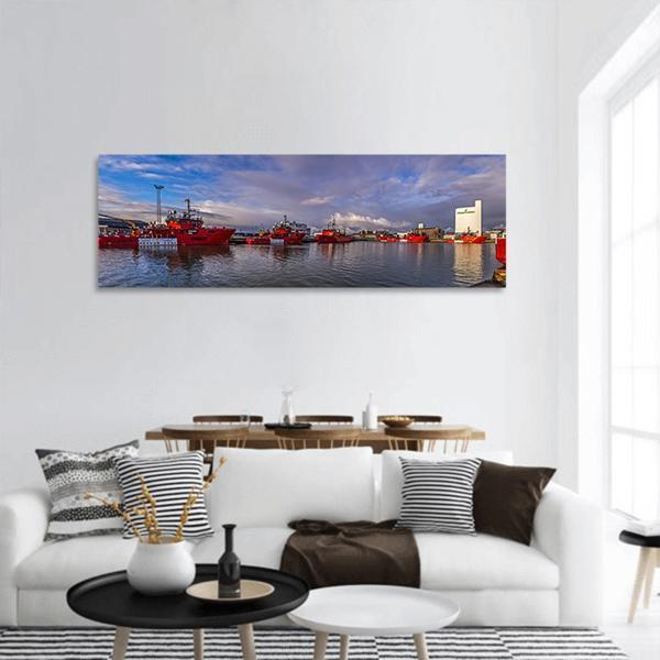 Esbjerg Harbor In Denmark Panoramic Canvas Wall Art Tiaracle