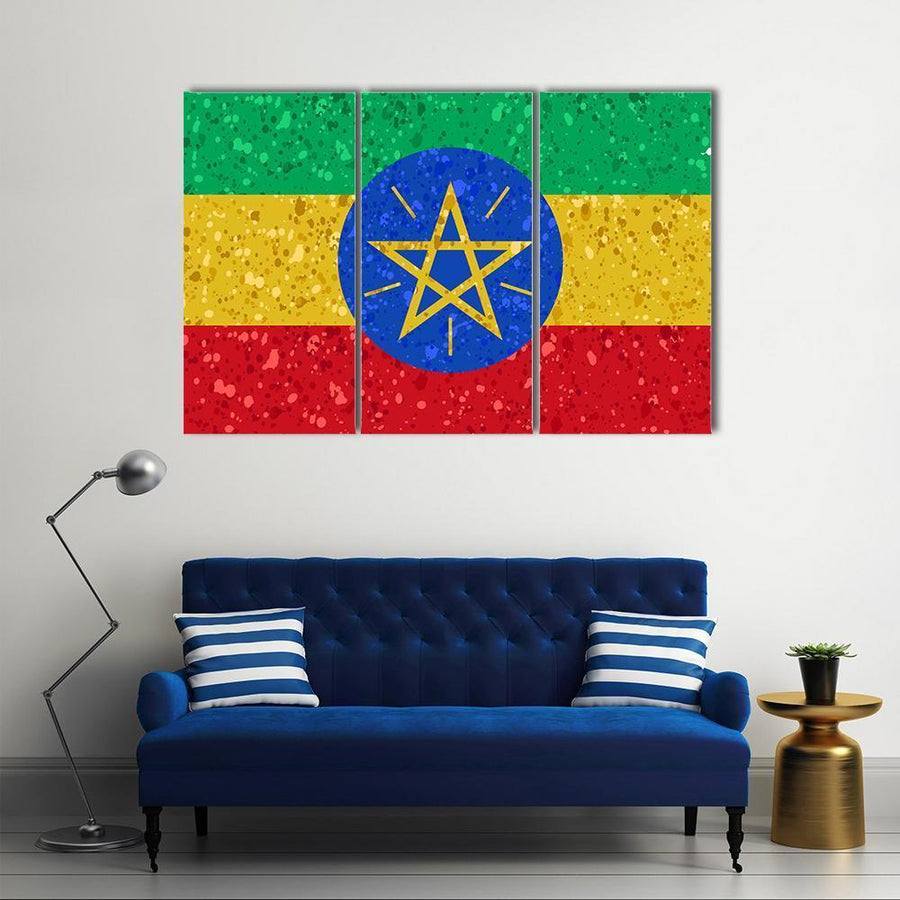 Ethiopia Flag Grunge Illustration Multi Panel Canvas Wall Art 4 Pieces / Medium / Canvas Tiaracle