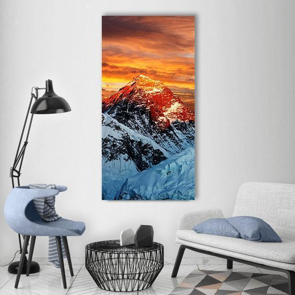 Evening Colored View Of Everest Vertical Canvas Wall Art 3 Vertical / Small / Gallery Wrap Tiaracle