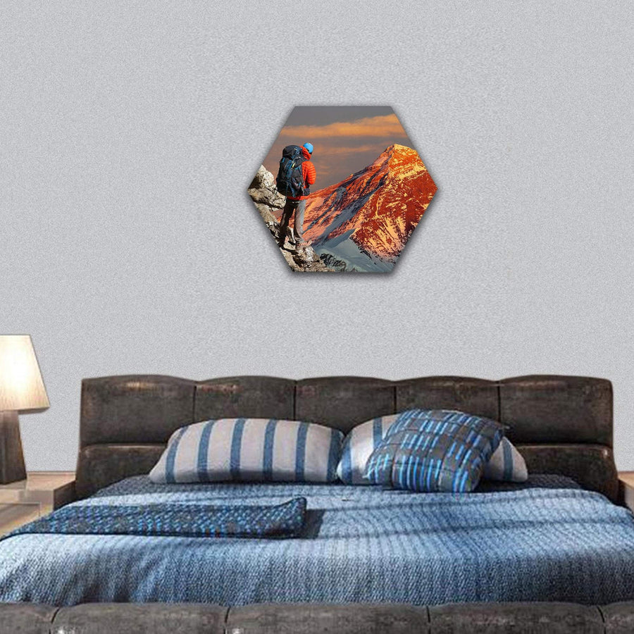 Evening Colored View Of Mount Everest Hexagonal Canvas Wall Art 7 Hexa / Small / Gallery Wrap Tiaracle