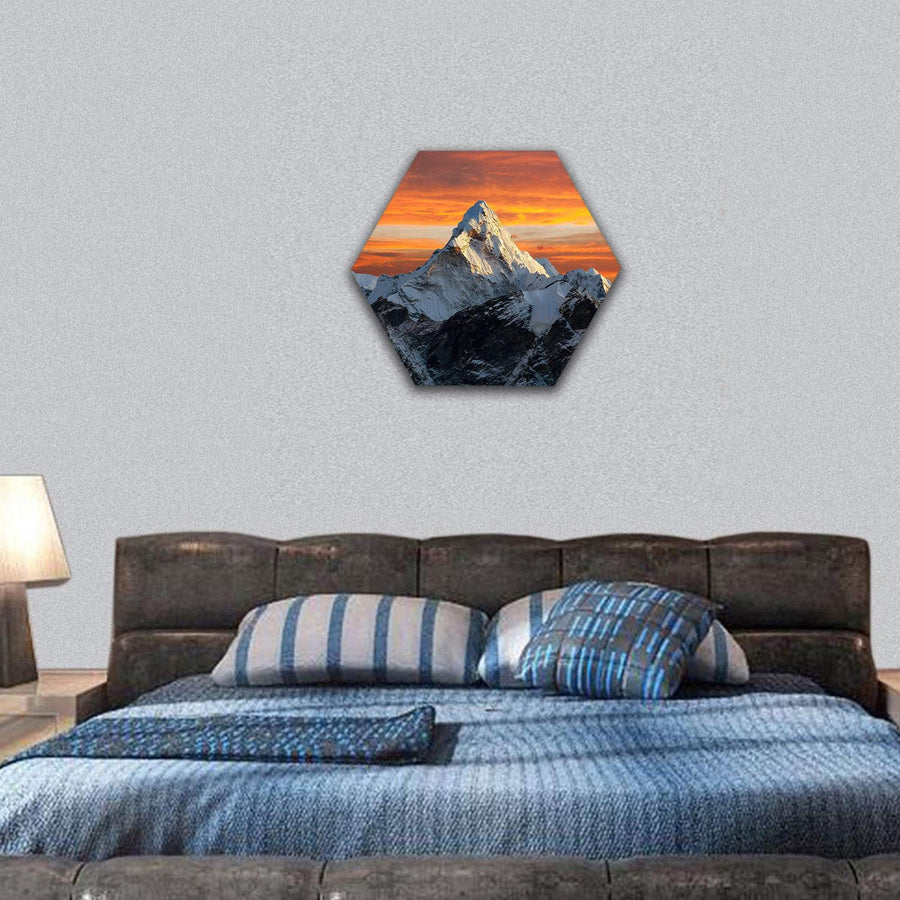 Evening View Of Ama Dablam Hexagonal Canvas Wall Art 7 Hexa / Small / Gallery Wrap Tiaracle