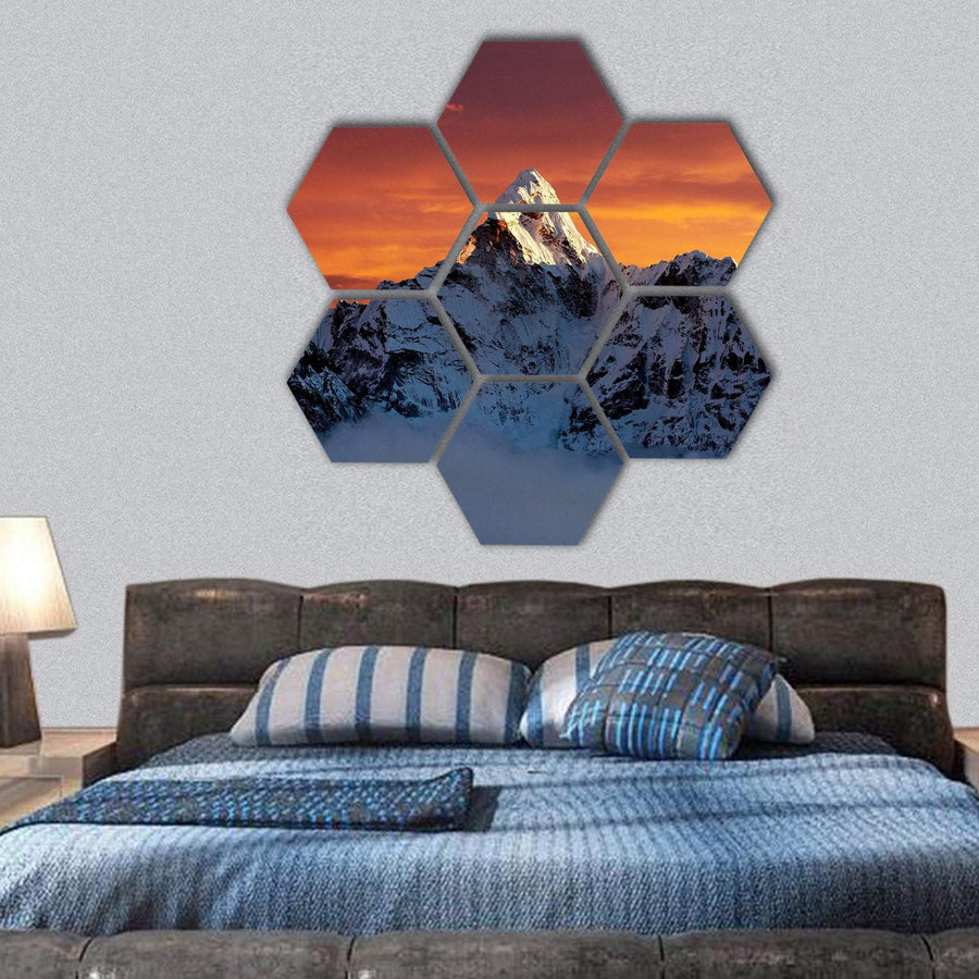 Evening View Of Ama Dablam Hexagonal Canvas Wall Art 1 Hexa / Small / Gallery Wrap Tiaracle