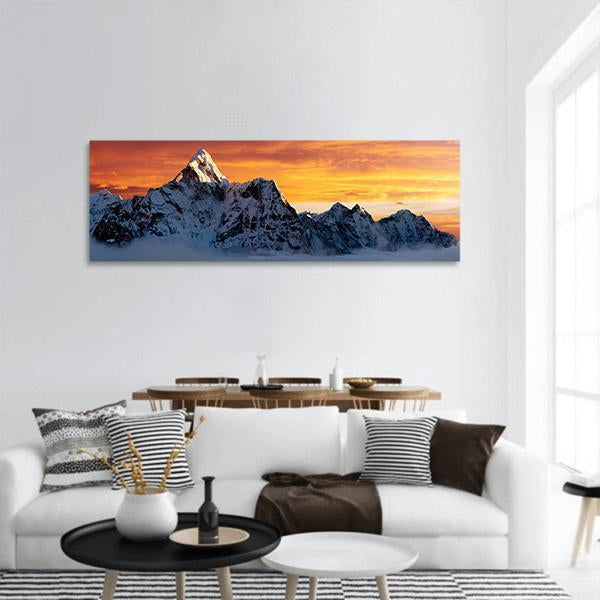 Evening View Of Ama Dablam Panoramic Canvas Wall Art 3 Piece / Small Tiaracle