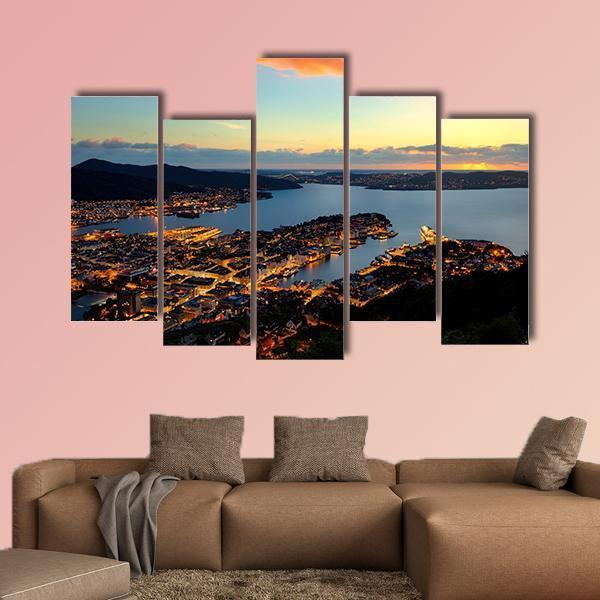Evening View Of Bergen In Norway Multi Panel Canvas Wall Art 4 Pieces / Medium / Gallery Wrap Tiaracle