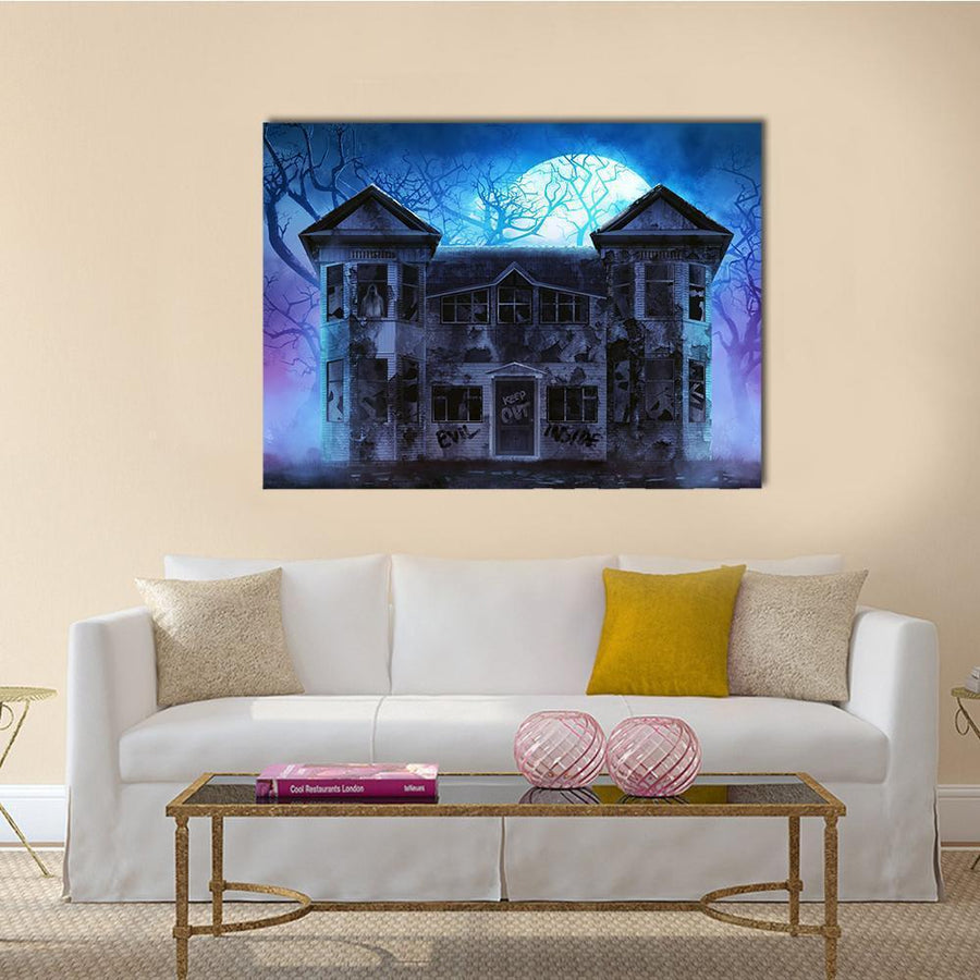 Evil Haunted House Canvas Wall Art-4 Horizontal-Small-Gallery Wrap-Tiaracle