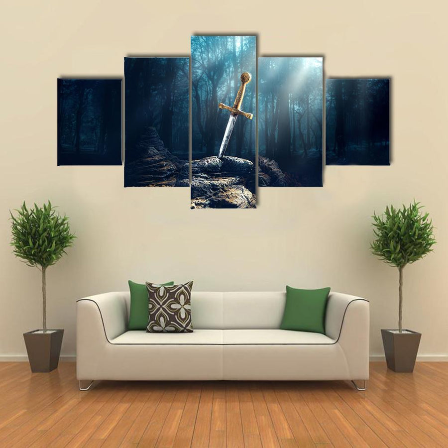 Excalibur Sword In The Stone Multi Panel Canvas Wall Art 3 Pieces / Medium / Canvas Tiaracle