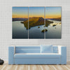 Fall Foliage By Lake George At Sunset Multi Panel Canvas Wall Art 3 Horizontal / Small / Gallery Wrap Tiaracle