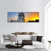 Famous Belem Tower At Sunset In Lisbon Panoramic Canvas Wall Art 3 Piece / Small Tiaracle