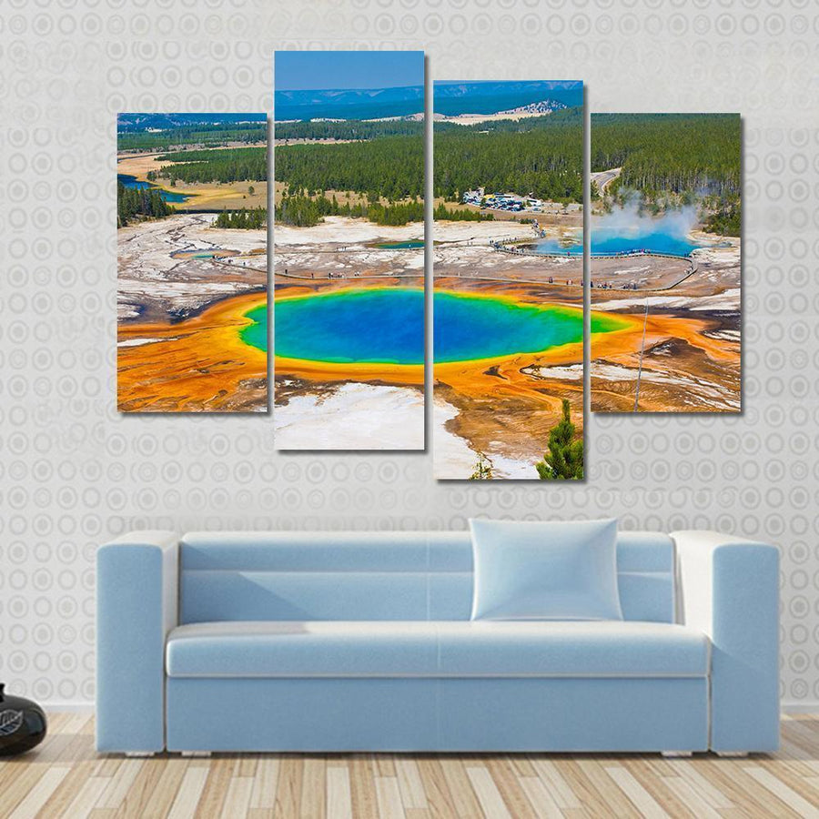 World Famous Grand Prismatic Spring In Yellowstone National Park Multi Panel Canvas Wall Art 3 Pieces / Small / Gallery Wrap Tiaracle