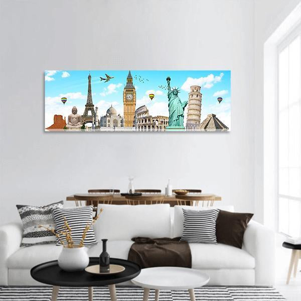 Famous Monuments Of The World Panoramic Canvas Wall Art 3 Piece / Small Tiaracle