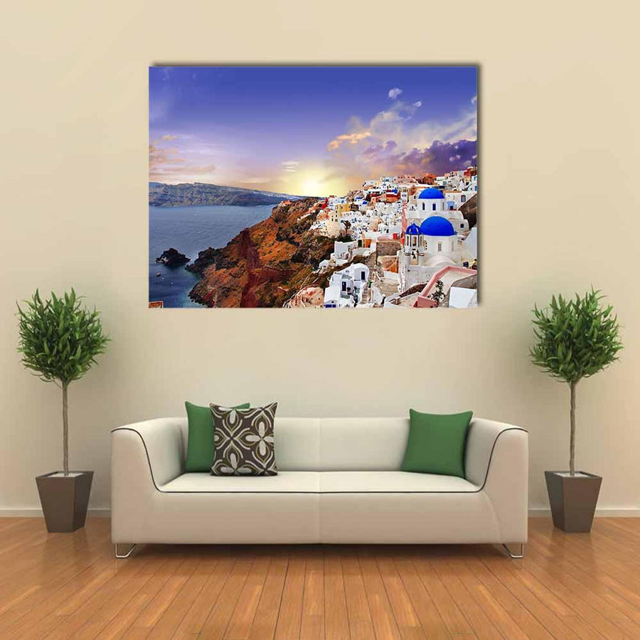 Famous Santorini At Sunset Multi Panel Canvas Wall Art-5 Horizontal-Small-Gallery Wrap-Tiaracle