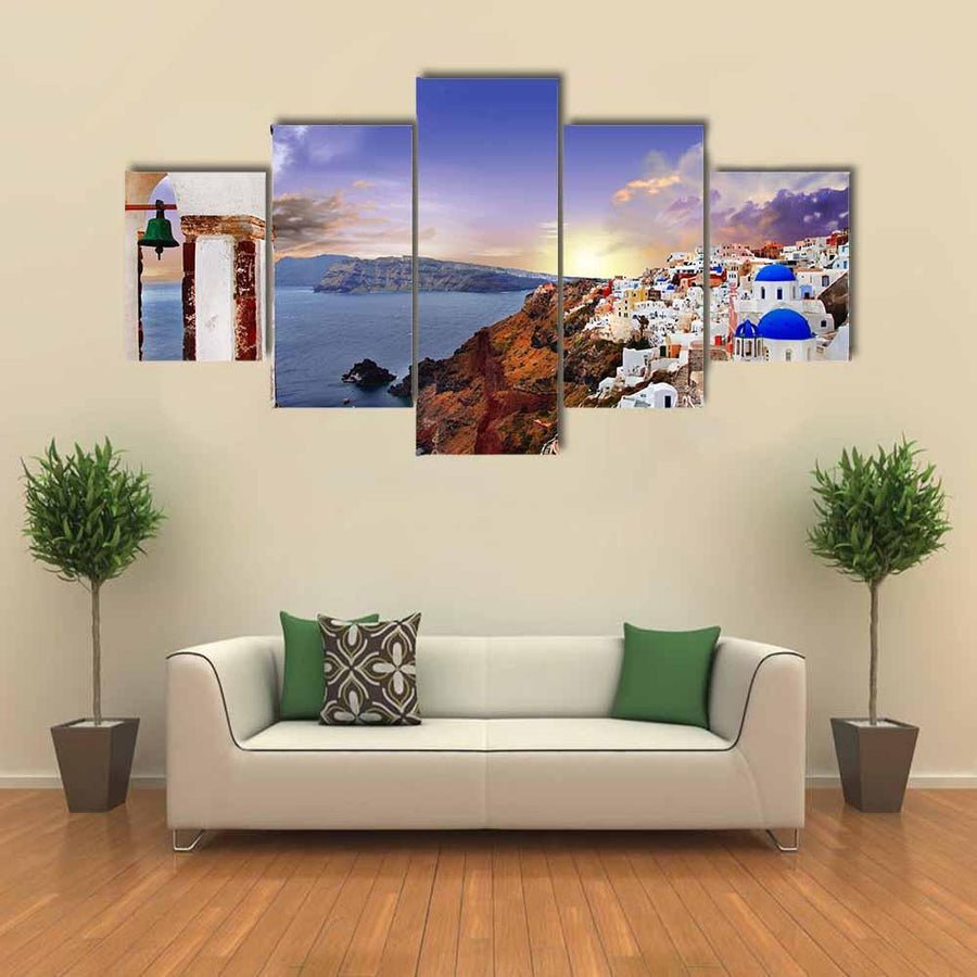 Famous Santorini At Sunset Multi Panel Canvas Wall Art-1 Piece-Xsmall-Gallery Wrap-Tiaracle