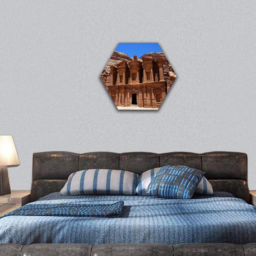 Famous Site Of Petra Treasury In Jordan Hexagonal Canvas Wall Art 7 Hexa / Small / Gallery Wrap Tiaracle