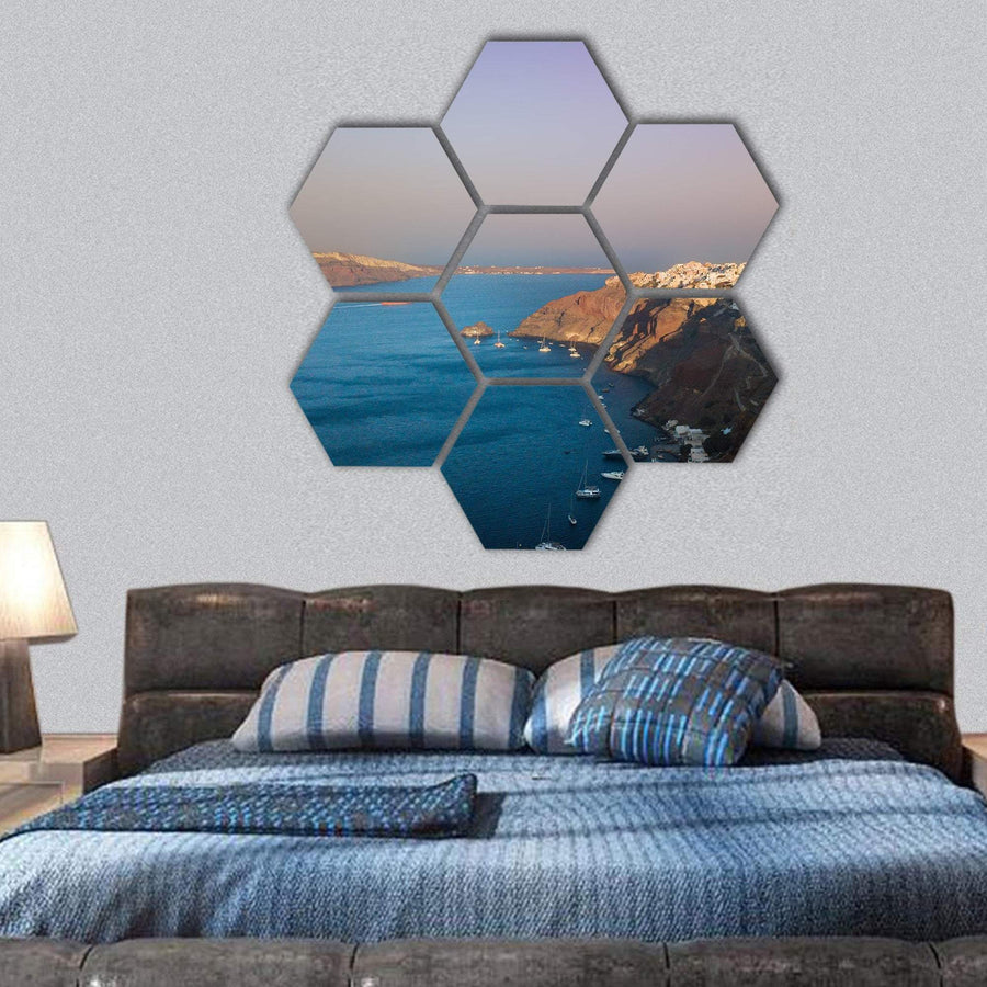 Famous Sunset At Santorini Hexagonal Canvas Wall Art 1 Hexa / Small / Gallery Wrap Tiaracle