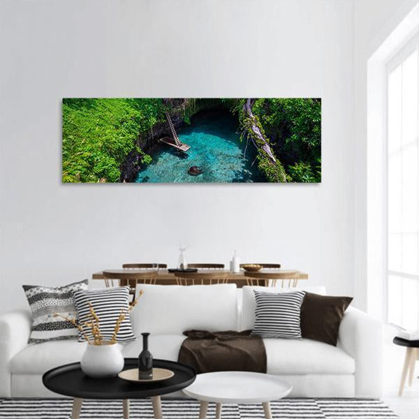 Famous Swimming Hole In Samoa Panoramic Canvas Wall Art 3 Piece / Small Tiaracle