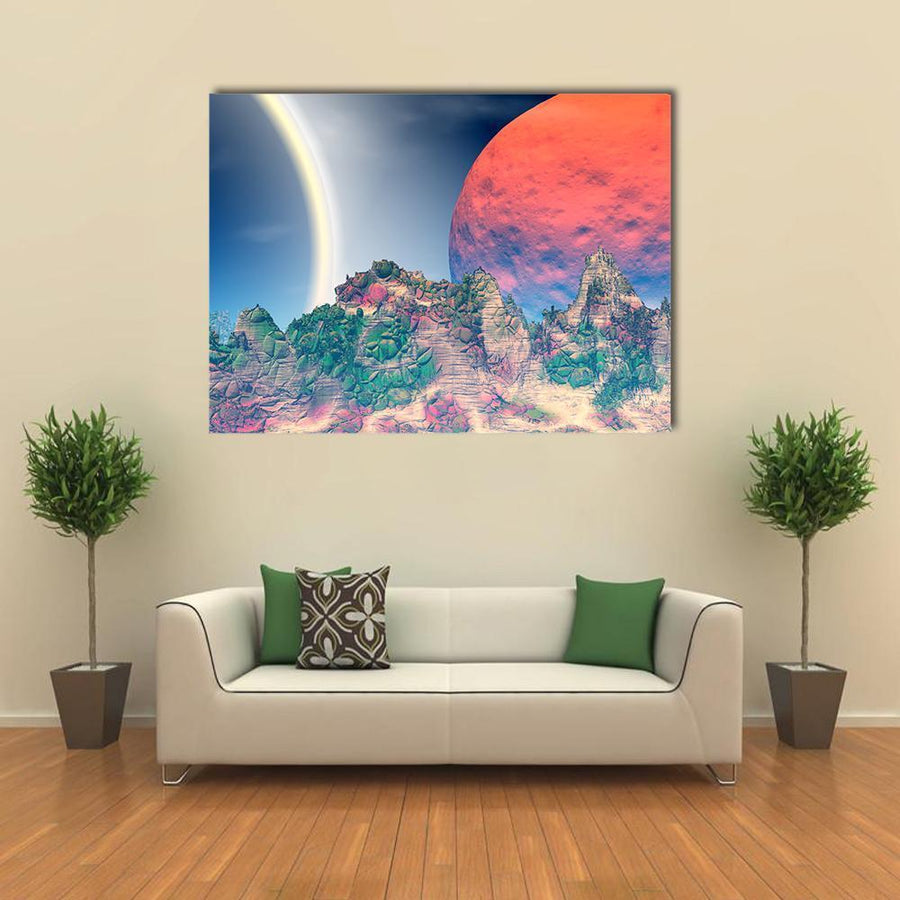 Fantasy Alien Planet Canvas Wall Art-4 Square-Small-Gallery Wrap-Tiaracle