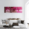 Fantasy Park With Pink Colors Panoramic Canvas Wall Art 3 Piece / Small Tiaracle