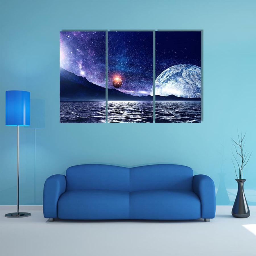 Deep Space Planet And Ocean Water Multi Panel Canvas Wall Art 5 Pieces(B) / Medium / Canvas Tiaracle