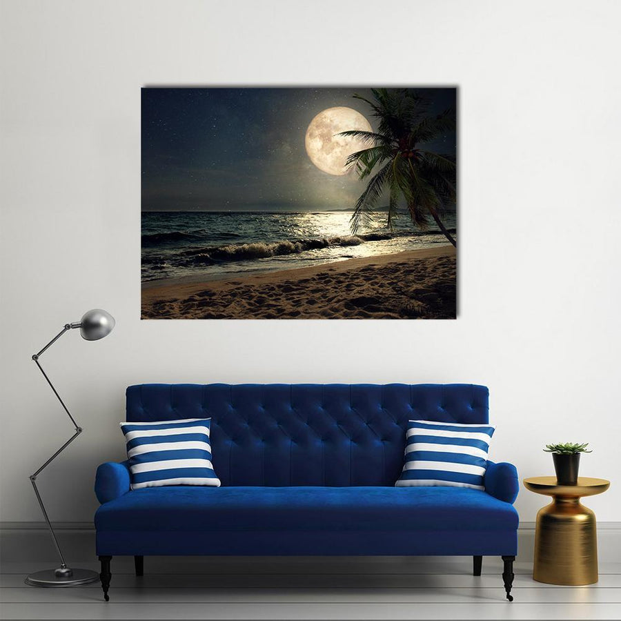 Fantasy Tropical Beach Canvas Wall Art-4 Square-Small-Gallery Wrap-Tiaracle