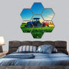 Farming Tractor Plowing And Spraying On Field Hexagonal Canvas Wall Art 7 Hexa / Small / Gallery Wrap Tiaracle