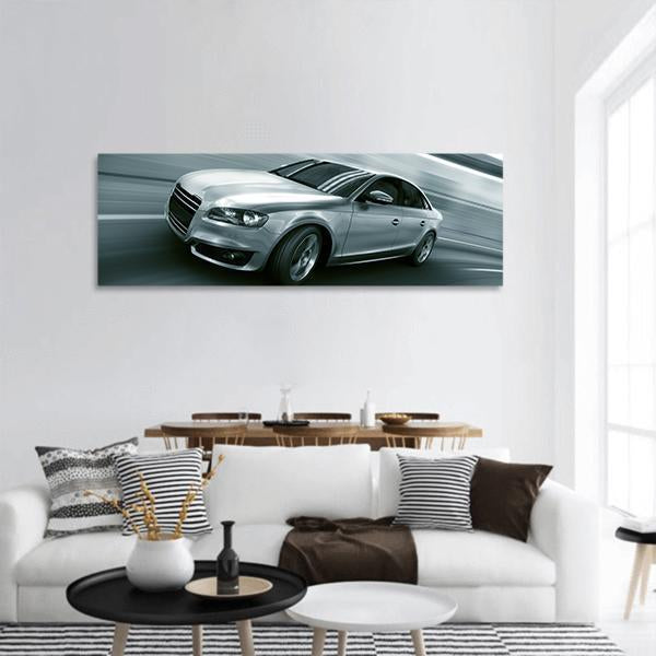 Fast Speed Car In Tunnel Panoramic Canvas Wall Art 3 Piece / Small Tiaracle