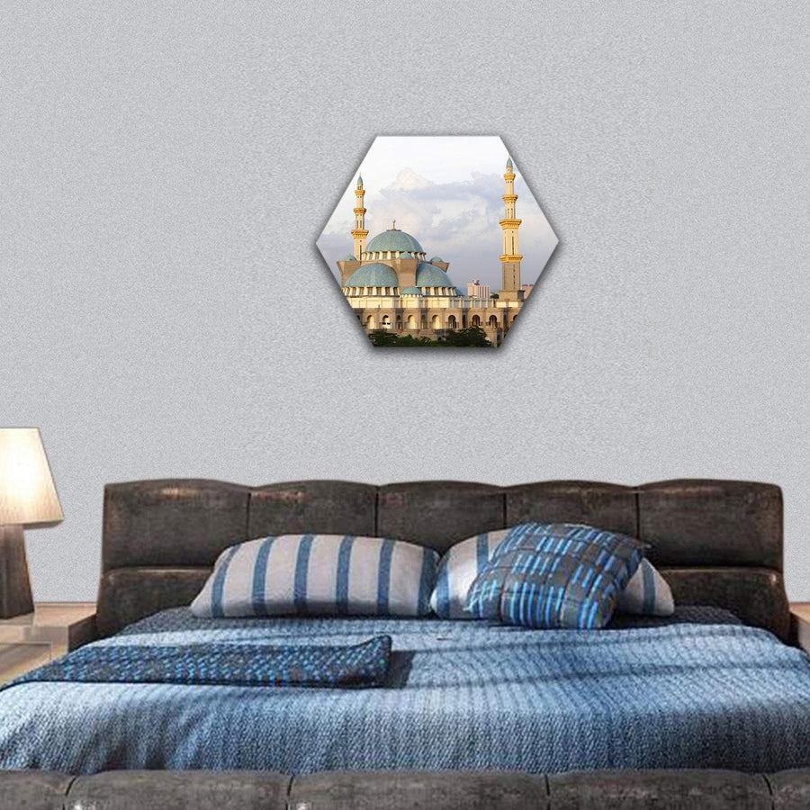 Federal Territory Mosque At Kuala Lumpur Hexagonal Canvas Wall Art 7 Hexa / Small / Gallery Wrap Tiaracle
