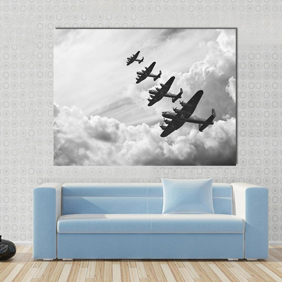 Fighter Jets In World War Multi Panel Canvas Wall Art 4 Horizontal / Small / Gallery Wrap Tiaracle